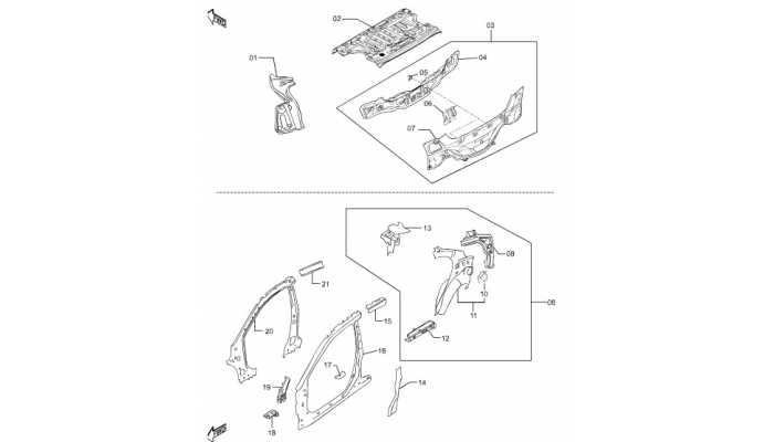 Панель задняя и усилители боковин FAW Besturn B50