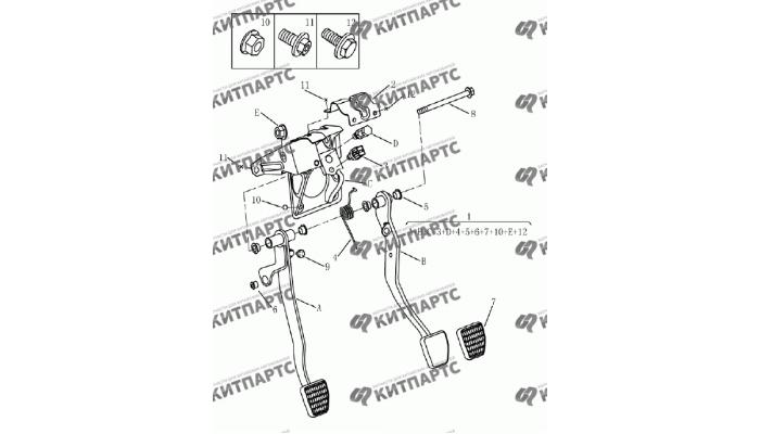 Педали тормоза и сцепления (МКПП) Geely Emgrand (EC7)