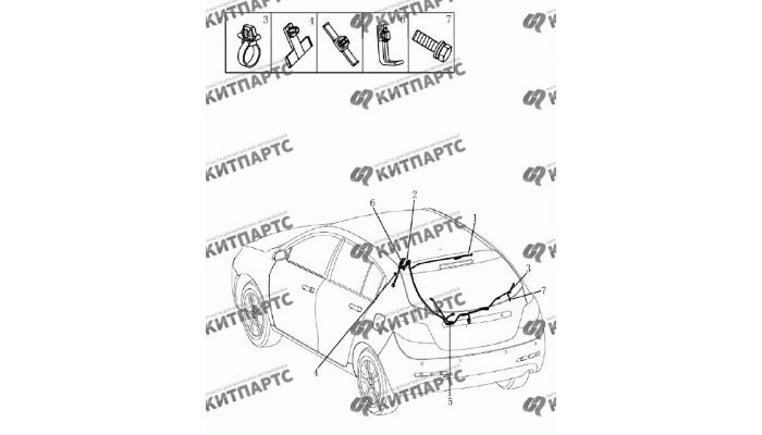 Жгут проводов задний (хетчбэк) Geely Emgrand (EC7)