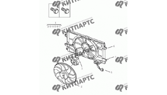Вентилятор радиатора охлаждения (одинарный) Geely Emgrand (EC7)