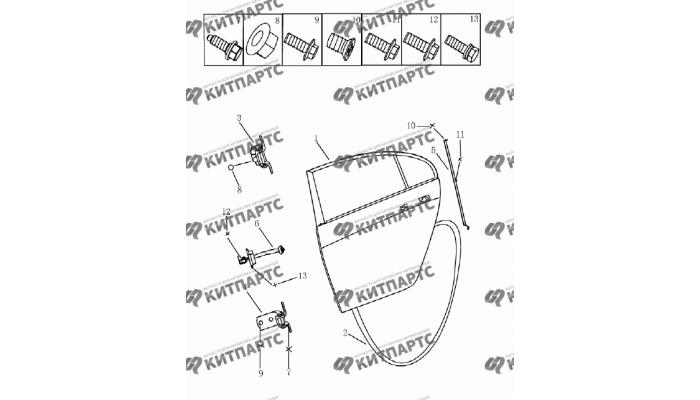Дверь задняя (седан) Geely Emgrand (EC7)
