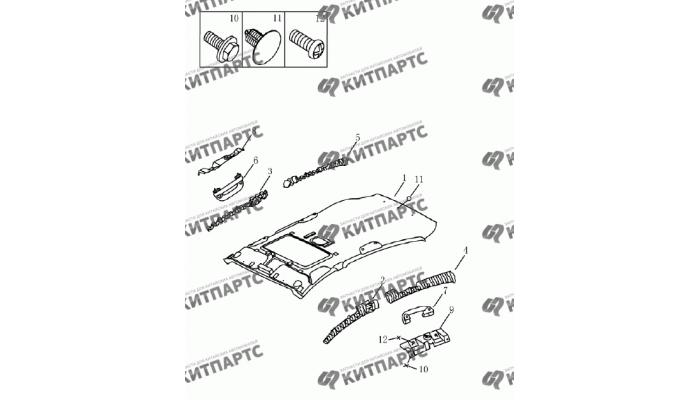 Обивка потолка с люком (хетчбэк) Geely Emgrand (EC7)