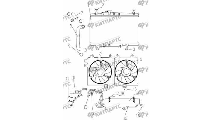 Радиатор охлаждения двигателя (АКПП) Geely Otaka (CK)